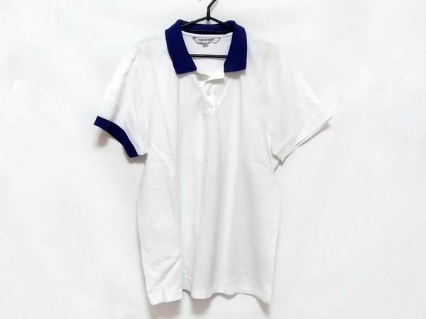 ニールバレット 半袖ポロシャツ サイズXXL XL メンズ 白×ネイビー ドルマンスリーブ