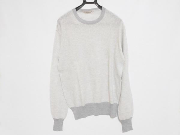 エルマノシェルビーノ 長袖セーター サイズ52 メンズ美品  ライトグレー×グレー