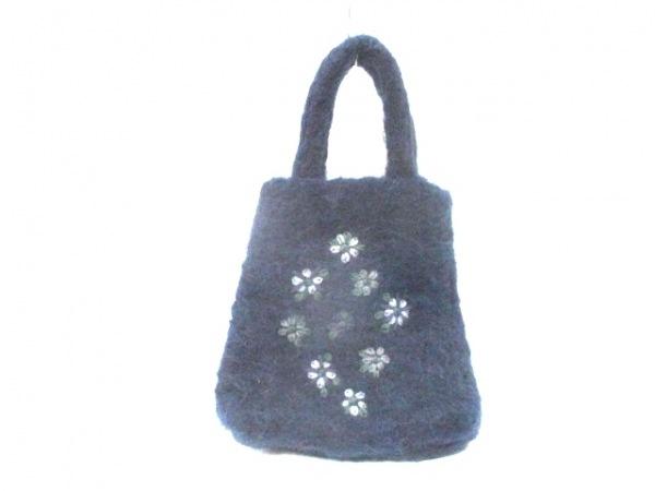 MAX&CO.(マックス&コー) トートバッグ ネイビー×グリーン×マルチ 刺繍 ウール
