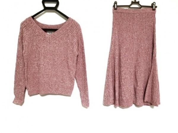 リリーブラウン スカートセットアップ サイズF レディース美品  ピンク×白 ニット