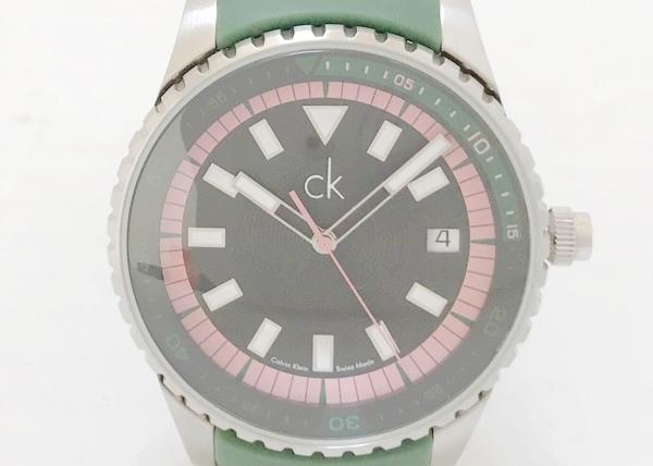 CalvinKlein(カルバンクライン) 腕時計 k32115 ボーイズ ラバーベルト 黒×ピンク×白