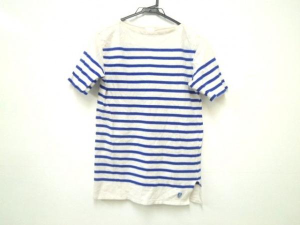 ORCIVAL(オーシバル) 半袖Tシャツ メンズ 白×ブルー ボーダー