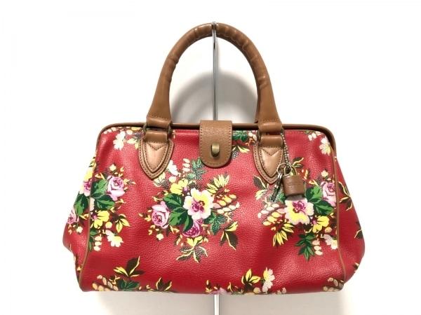 ケンゾー ハンドバッグ レッド×ブラウン×マルチ 花柄 PVC(塩化ビニール)×レザー