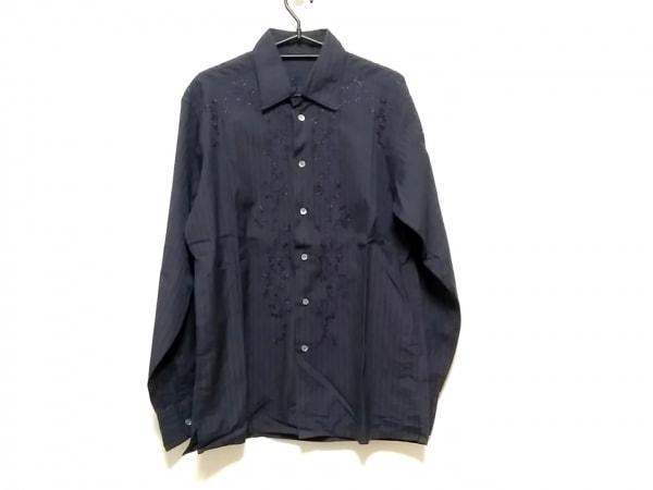 エルマノシェルビーノ 長袖シャツ サイズ48 XL メンズ ダークネイビー×黒