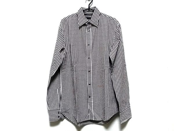 ディースクエアード 長袖シャツ サイズ48 M メンズ 白×ダークブラウン チェック柄