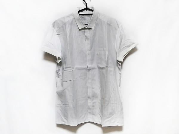 ニールバレット 半袖シャツ サイズ42 XS メンズ 白×黒 異素材切替/ストライプ