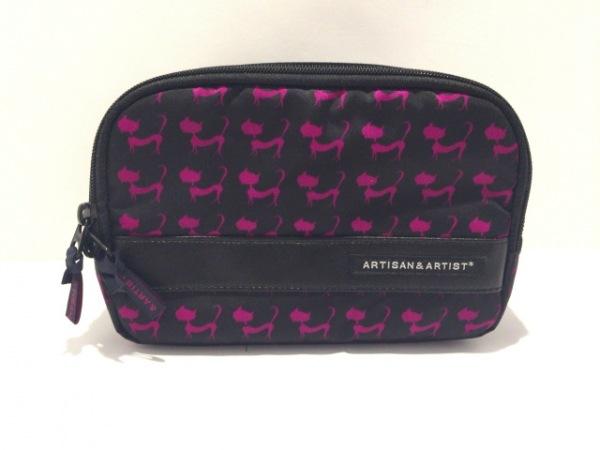 アルティザン&アーティスト ポーチ美品  黒×ピンク ネコ柄/コスメポーチ ナイロン