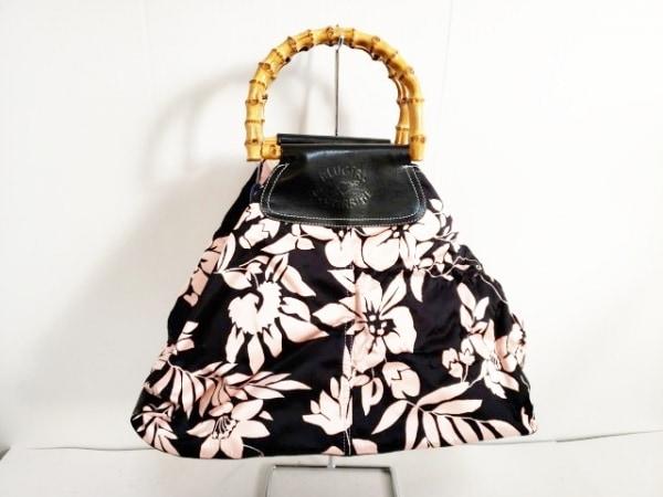 ブルーガールブルマリン トートバッグ美品  黒×ピンク ウッドハンドル/花柄