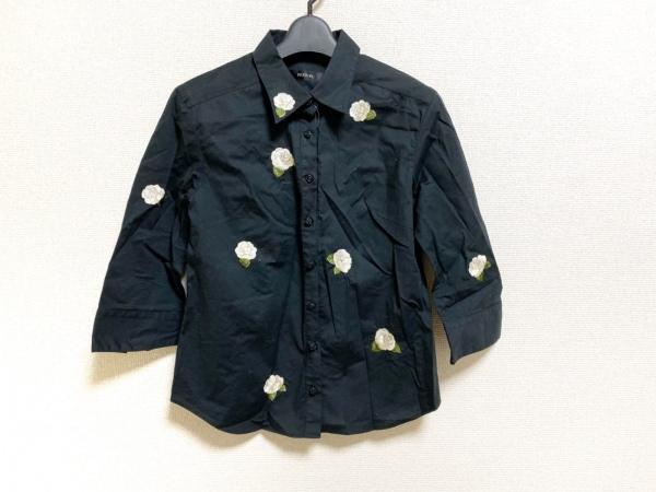 インゲボルグ 長袖シャツブラウス サイズS レディース美品  黒×ピンク×グリーン