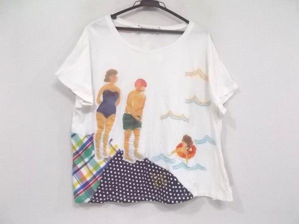アトリエドゥサボン 半袖Tシャツ サイズF レディース 白×ネイビー×マルチ