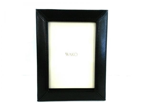 WAKO(ワコー) 小物美品  ダークネイビー×クリア 写真立て レザー×ガラス