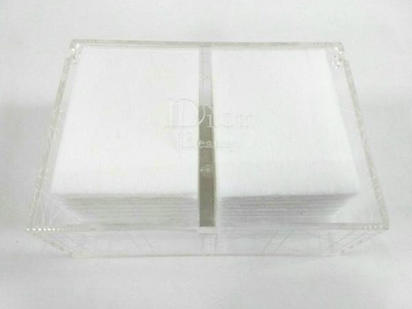 ディオールビューティー 小物美品  クリア×白 コットンボックス プラスチック