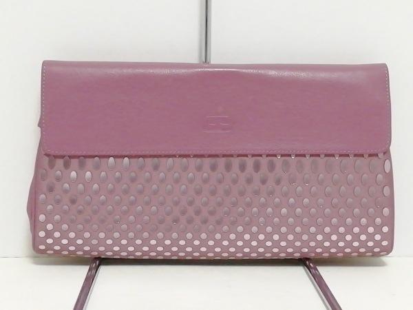 FolliFollie(フォリフォリ) クラッチバッグ美品  パープル ドット柄 合皮×化学繊維