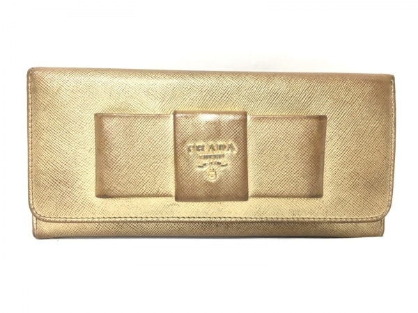 PRADA(プラダ) 長財布 - ゴールド リボン レザー
