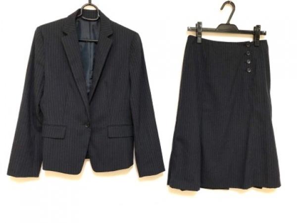 コムサイズム スカートスーツ サイズ11 M レディース ダークネイビー×グレー