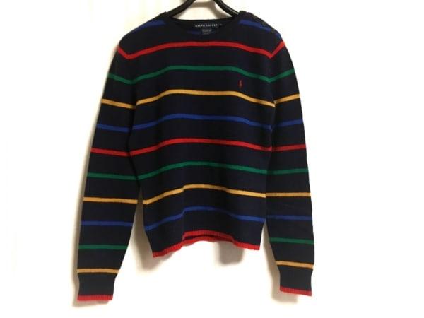 ラルフローレン 長袖セーター サイズXL レディース ダークネイビー×マルチ ボーダー