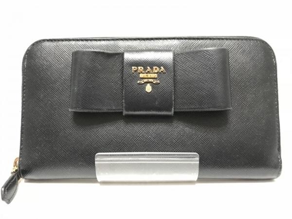 PRADA(プラダ) 長財布 - 1M0506 黒 リボン/ラウンドファスナー レザー
