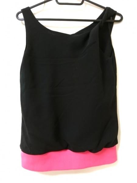 YLANG YLANG(イランイラン) ノースリーブカットソー レディース 黒×ピンク 裾リブ