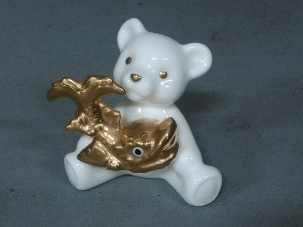 Noritake(ノリタケ) 小物美品  白×ゴールド クマ/しゃちほこ 陶器
