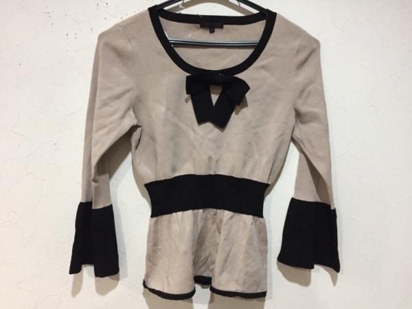 トゥービーシック 長袖カットソー サイズ2 M レディース美品  ベージュ×黒 リボン