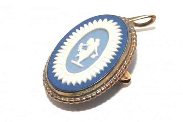 ウェッジウッド ペンダントトップ 陶器×金属素材 ブルー×白×ライトブルー