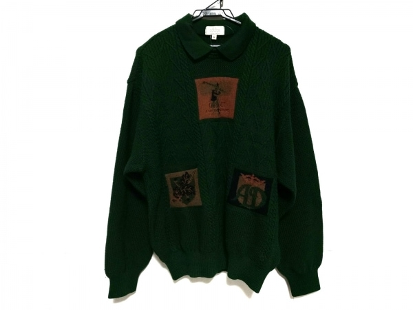 アダバット 長袖セーター サイズ4 XL メンズ美品  グリーン×オレンジ×マルチ