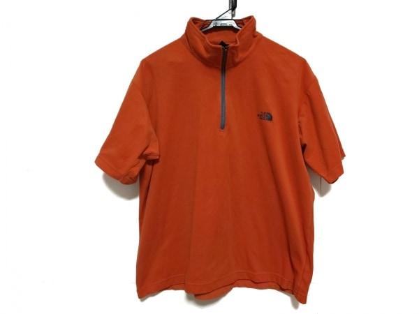 ノースフェイス 半袖カットソー サイズLL メンズ美品  オレンジ ハーフジップアップ