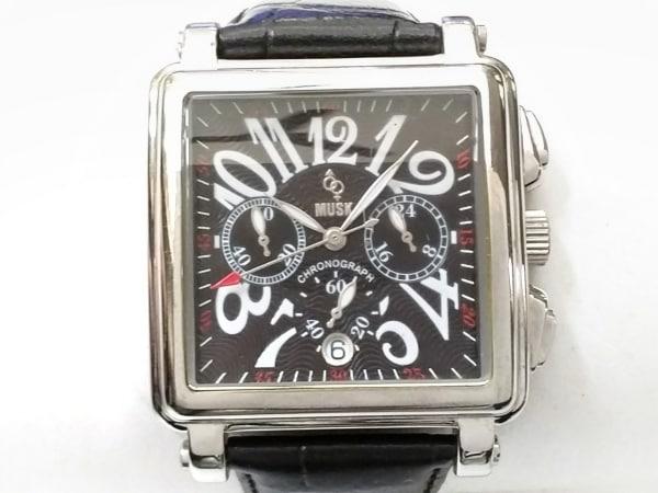 MUSK(ムスク) 腕時計 MMT-017 メンズ クロノグラフ/型押し革ベルト 黒