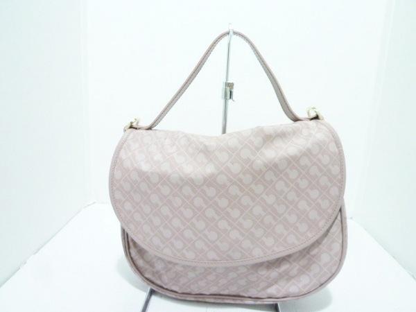 ゲラルディーニ ハンドバッグ美品  ピンクベージュ PVC(塩化ビニール)×レザー