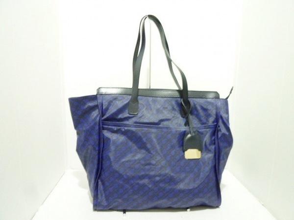 ゲラルディーニ ショルダーバッグ美品  黒×ブルー PVC(塩化ビニール)×レザー