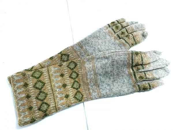 アンティパスト 手袋 7-9 レディース グレー×ベージュ×グリーン ラメ ウール