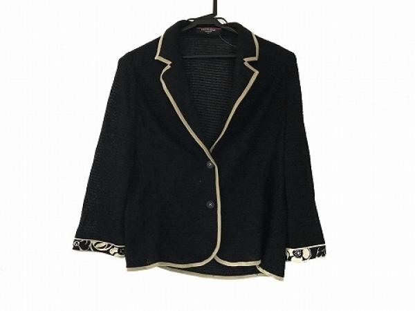 LEONARD(レオナール) ジャケット サイズLL レディース 黒×ベージュ