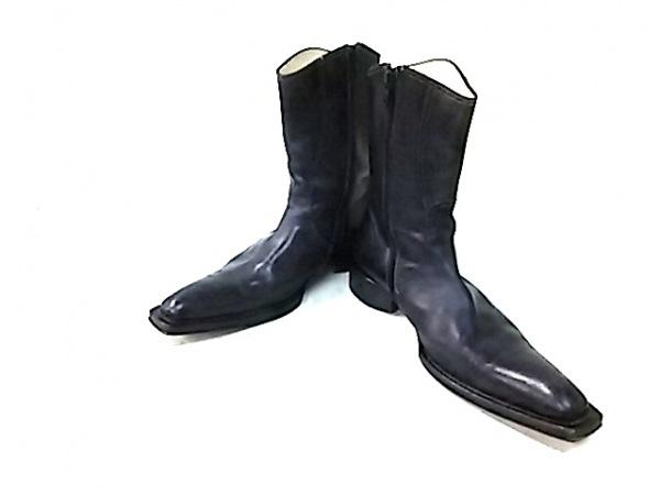 ステファノブランキーニ ショートブーツ 5 メンズ 黒 アウトソール張替済 レザー