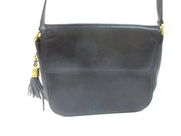 VALENTINOGARAVANI(バレンチノガラバーニ) ショルダーバッグ 黒 ネーム刻印 レザー