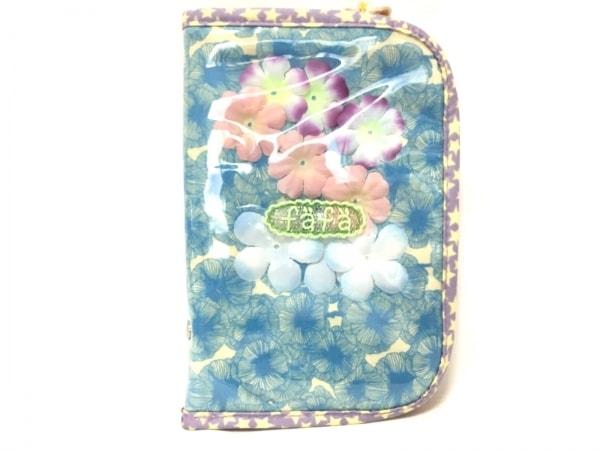 フェフェ 小物入れ ライトブルー×アイボリー×マルチ 花柄/フラワー/マルチケース