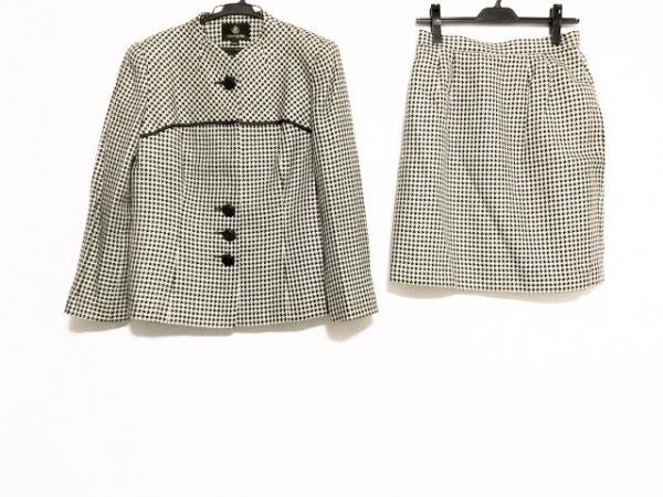 ユミカツラ スカートスーツ サイズ13AR M レディース 白×黒 ラメ/千鳥格子