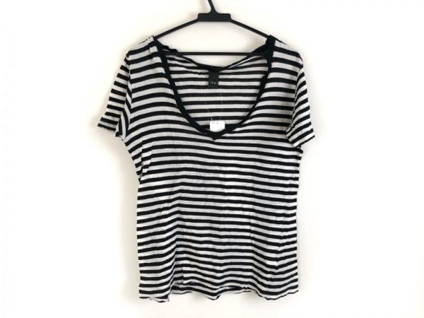 Pledge(プレッジ) 半袖Tシャツ サイズ50 XL レディース アイボリー×黒 ボーダー