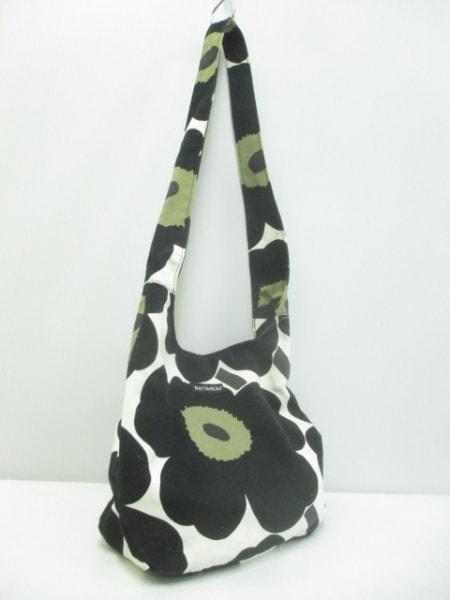 marimekko(マリメッコ) ショルダーバッグ 白×黒×カーキ フラワー キャンバス