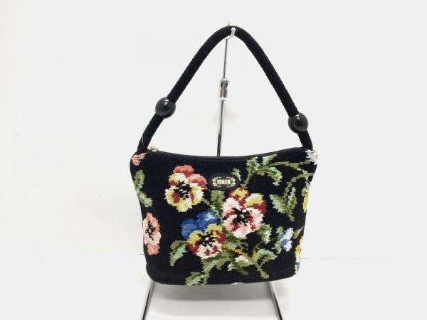 FEILER(フェイラー) ハンドバッグ新品同様  黒×ピンク×マルチ 花柄 パイル