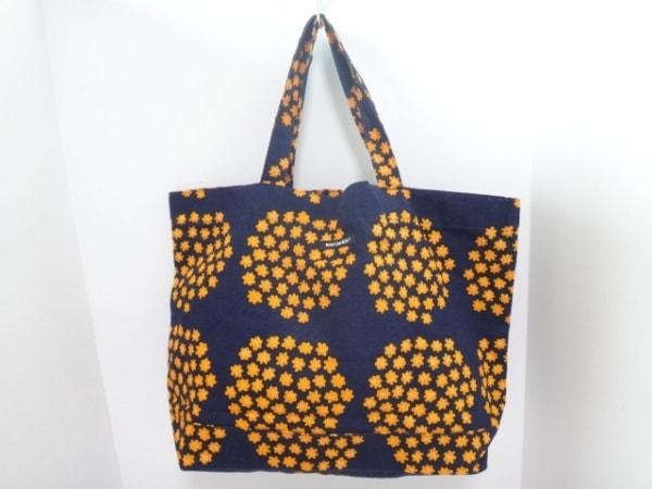 marimekko(マリメッコ) トートバッグ ネイビー×オレンジ 花柄 キャンバス