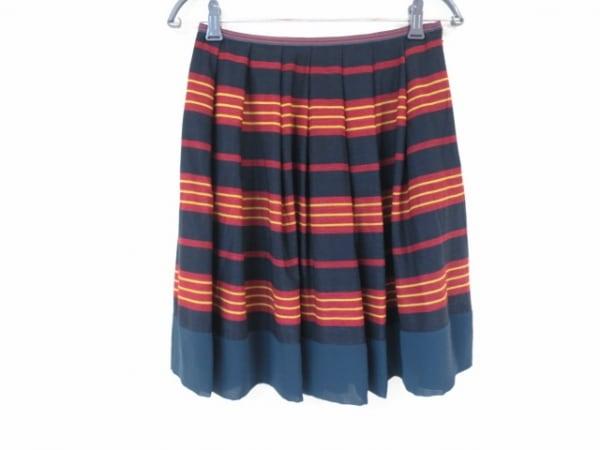 ロイスクレヨン スカート サイズM レディース美品  黒×レッド×イエロー ボーダー