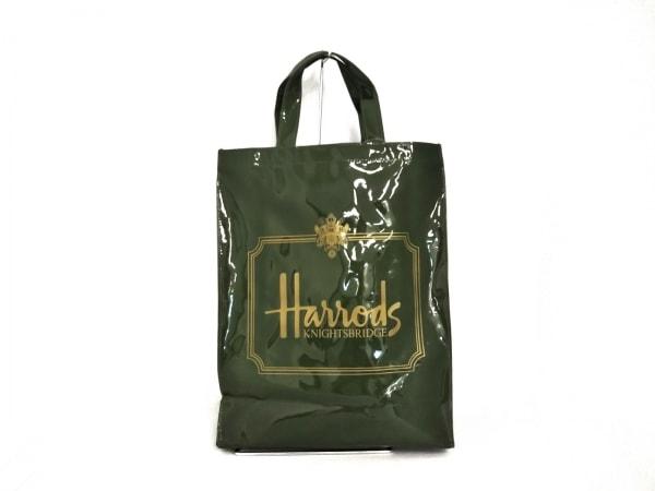 HARRODS(ハロッズ) トートバッグ美品  カーキ×ブラウン PVC(塩化ビニール)
