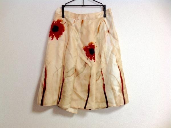 CELINE(セリーヌ) スカート レディース美品  ベージュ×レッド×マルチ 花柄/シルク
