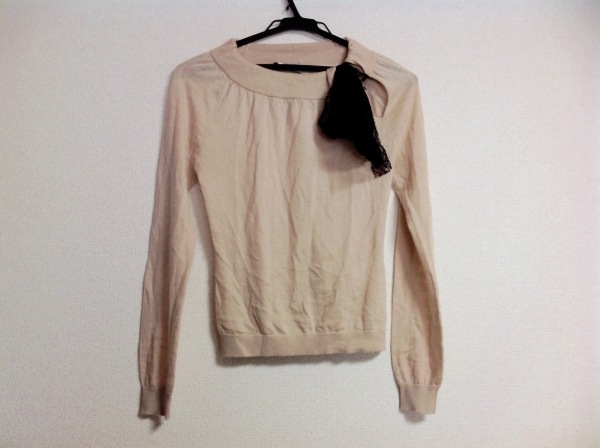 バレンチノローマ 長袖セーター レディース ベージュ×黒 カシミヤ、シルク混/リボン