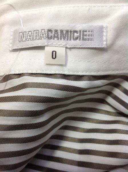 NARACAMICIE(ナラカミーチェ) 半袖シャツブラウス レディース 白×グレー ストライプ