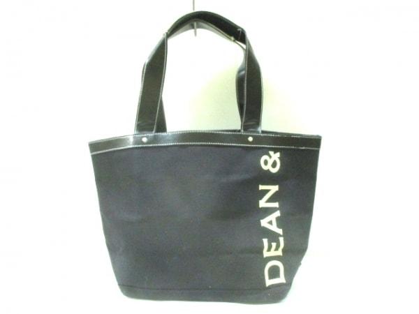 ディーンアンドデルーカ トートバッグ 黒×白×グレー キャンバス×レザー