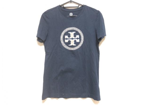 トリーバーチ 半袖Tシャツ サイズS レディース ネイビー×ベージュ×アイボリー