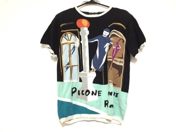 PICONE(ピッコーネ) 半袖セーター サイズ38 S レディース 黒×白×マルチ