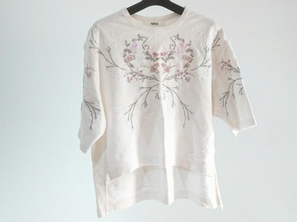 furfur(ファーファー) 半袖カットソー サイズF レディース美品  ピンク 花柄/刺繍