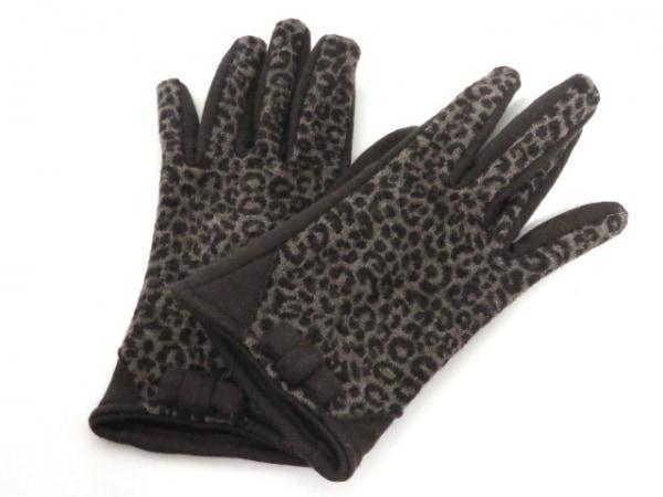 アルポ 手袋 レディース美品  ダークブラウン×ライトブラウン リボン/豹柄 ウール